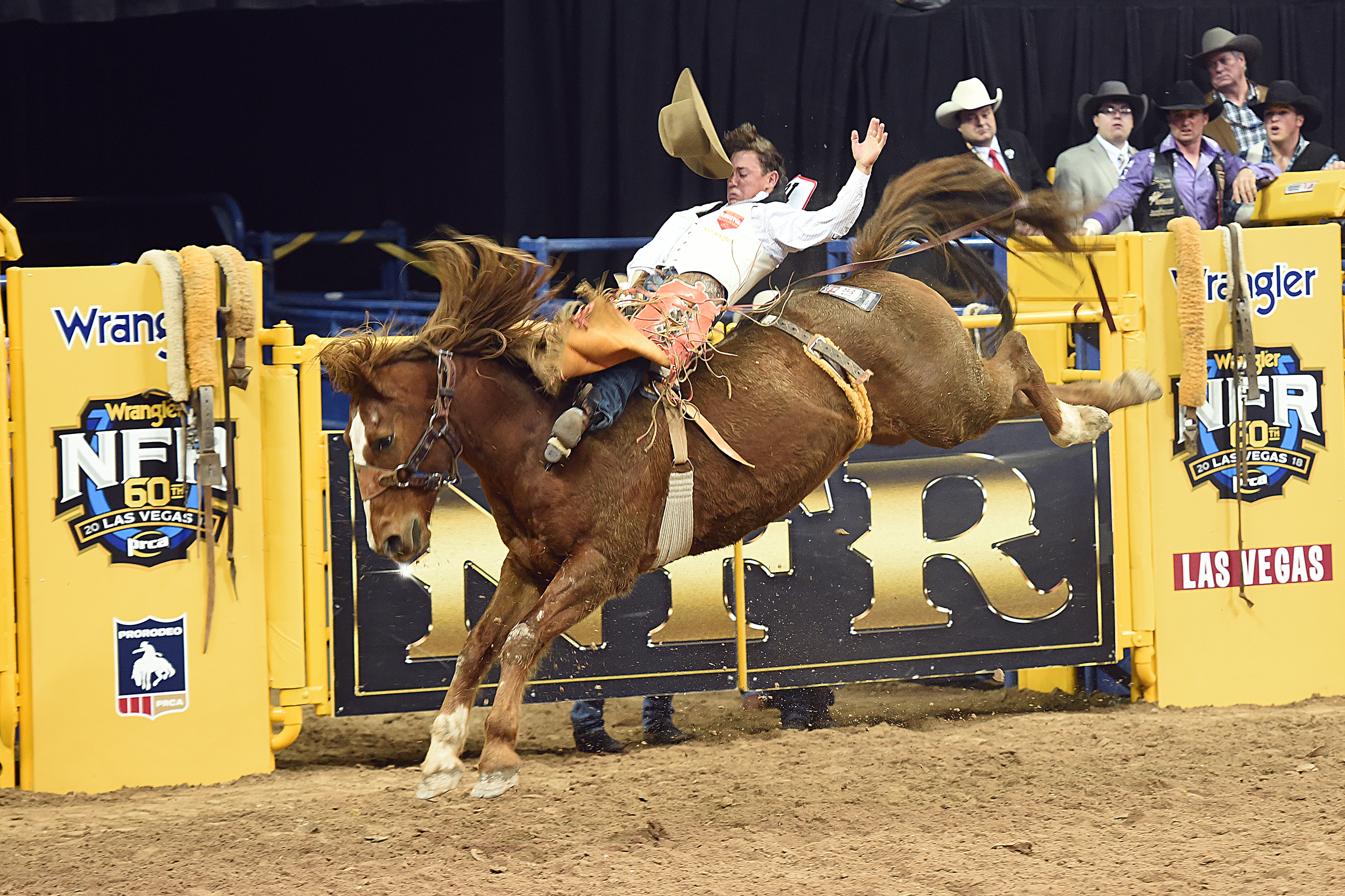 Clayton Biglow rides Frontier Rodeo's Tip Off for 86.5 points to finish third in Friday's second round of the National Finals Rodeo. (PHOTO BY ROBBY FREEMAN)