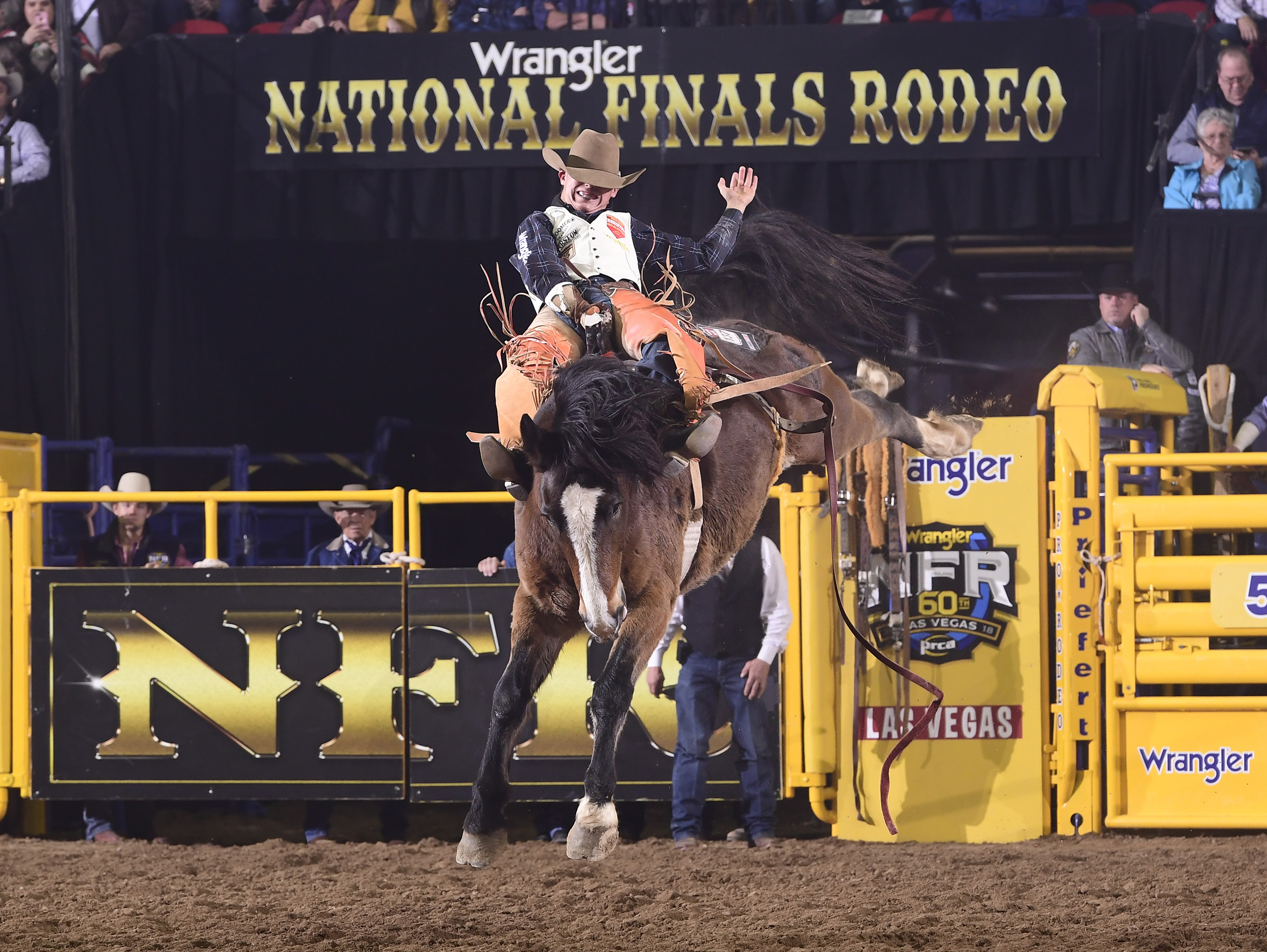 Clayton Biglow rides Frontier Rodeo's Big Night for 86.5 points to finish in a tie for fourth place in Wednesday's seventh go-round of the National Finals Rodeo. (PRCA PRORODEO PHOTO BY JAMES PHIFER)