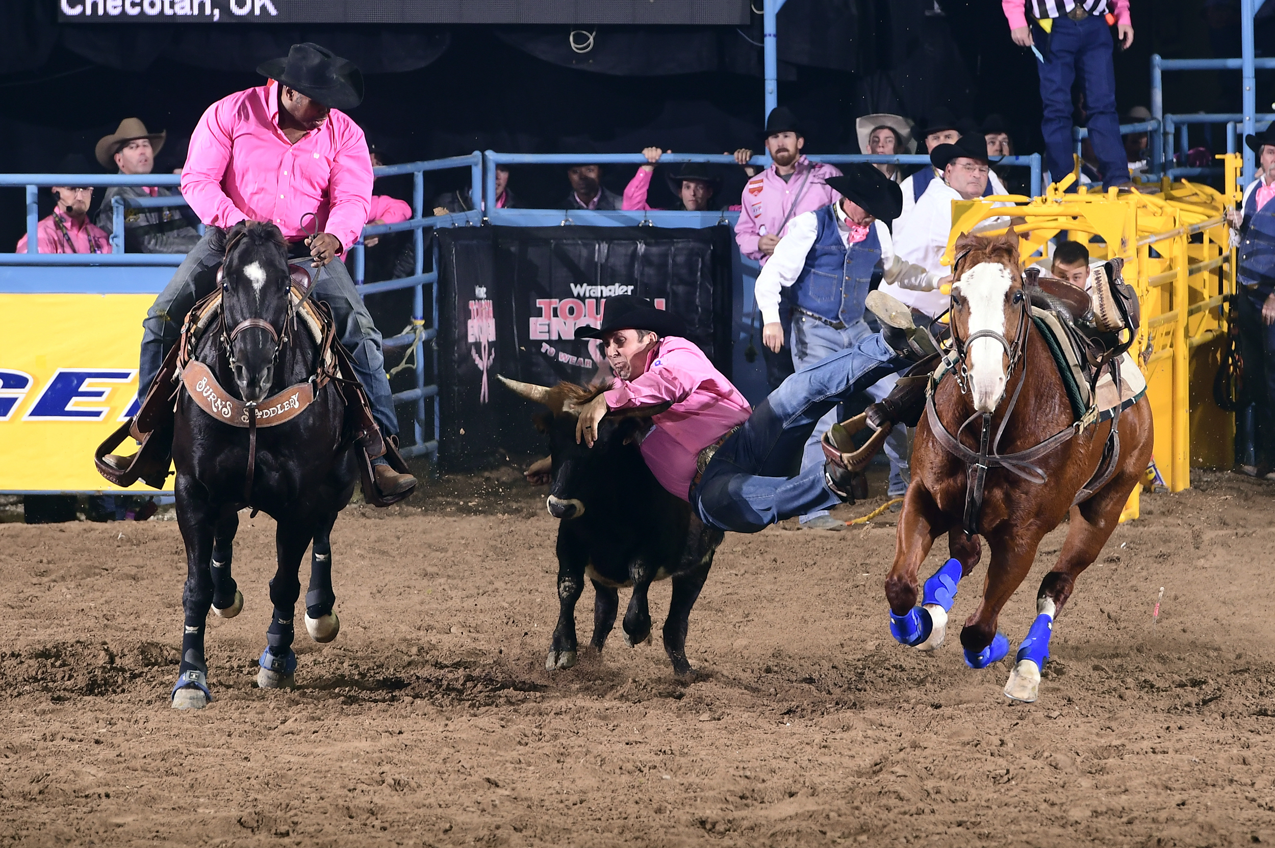Riley Duvall will ride into Las Vegas for his third National Finals Rodeo qualification as the No. 7-ranked steer wrestler in the world standings. (PHOTO BY JAMES PHIFER)