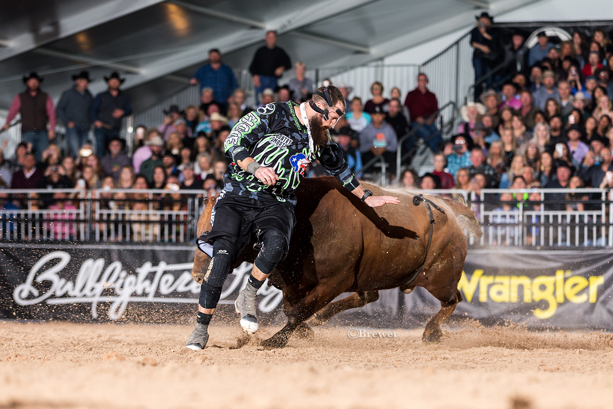 Weston Rutkowski has gone from the hunted to the hunter in the race for the Bullfighters Only world championship. (PHOTO BY TODD BREWER)