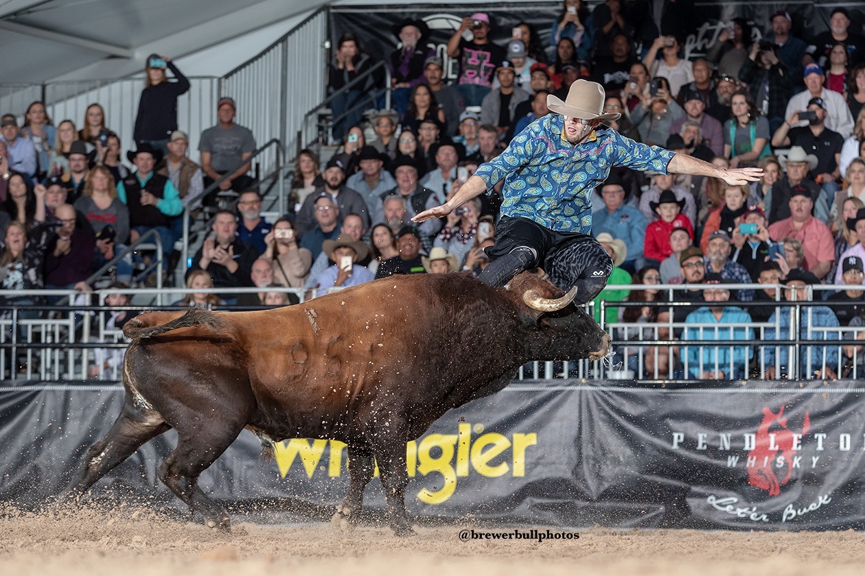 Beau Schueth jumps is bull during the final day of the FlexFit Preliminary Rounds of the Bullfighters Only Las Vegas Championship at the Tropicana Las Vegas. (PHOTO BY TODD BREWER)