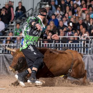 Reigning two-time Bullfighters Only World Champion Weston Rutkowski had to scramble through the Wild Card Round, but he will battle to defend his title during Championship Saturday of the Las Vegas Championship at the Tropicana Las Vegas. (PHOTO BY TODD BREWER)