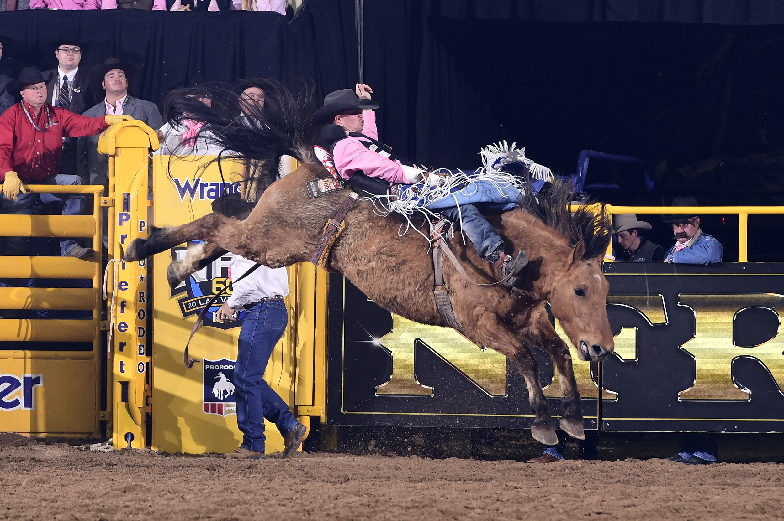Orin Larsen rides Painted River for 87 points to finish sixth during Monday's fifth round of the National Finals Rodeo. It's his second payday of this year's NFR. (PRCA PRORODEO PHOTO BY JAMES PHIFER)