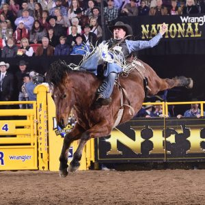 Orin Larsen rides Bridwell Rodeo's Ted for 86.5 points Friday night to finish in a tie for fourth place in the ninth round of the National Finals Rodeo. (PRCA PRORODEO PHOTO BY JAMES PHIFER)