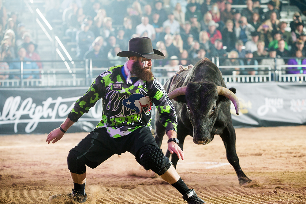 The biggest scores in Bullfighters Only come because half the score comes from the great animal athletes that are part of the mix. Weston Rutkowski, the two-time defending world champion, has experienced the good, bad and ugly of having outstanding bulls in a bout. The best bulls will be part of the Las Vegas Championship, set for Dec. 6-15 at the Tropicana Las Vegas. (PHOTO BY TODD BREWER)