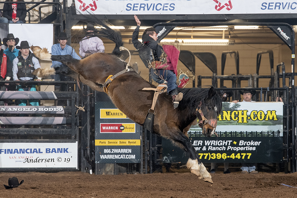 Caleb Bennett rides Northott Macza's Spilled Perfume for 93 points to win the championship round and the average title at the San Angelo Stock Show and Rodeo. (PHOTO BY RIC ANDERSEN)