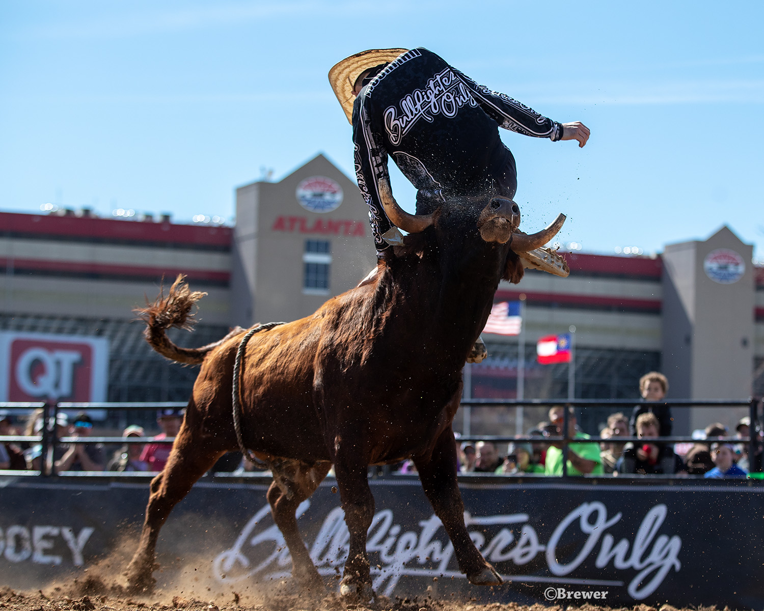Chance Moorman takes his second jump during his championship-round, 90-point bullfight Sunday to win the Bullfighters Only Speedway Series event in Atlanta. (PHOTO BY TODD BREWER)