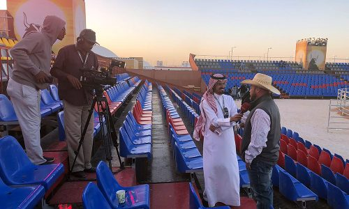 Dave Rice conducts and interview as he promotes the bull riding events in Saudi Arabia. (COURTESY PHOTO)