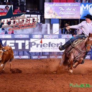 Reigning champion Jordan Ketscher finishes off his 60.7-second first round, the fastest of the afternoon performance of the CINCH Timed Event Championship. He earned $3,000 for the feat. (PHOTO BY JAMES PHIFER)