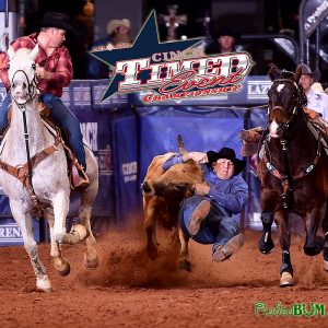 Justin Thigpen seals his first CINCH Timed Event Championship title in his first time to compete in the unique event during his steer wrestling run Sunday afternoon. He earned $107,000. (PHOTO BY JAMES PHIFER)