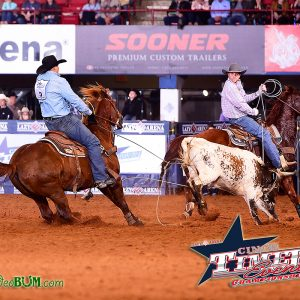 """Justin Thigpen takes a solid heel shot Friday evening during the second round of the CINCH Timed Event Championship of the World. The Waycross, Georgia, cowboy is the leader heading into Saturday's second day of the """"Ironman of ProRodeo."""" (PHOTO BY JAMES PHIFER)"""