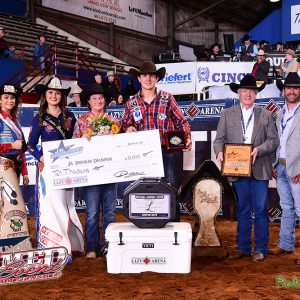 Tyler West of Mertzon, Texas, won $11,000 by winning the third round and the average title at the 2019 Jr. Ironman Championship. (PHOTO BY JAMES PHIFER)