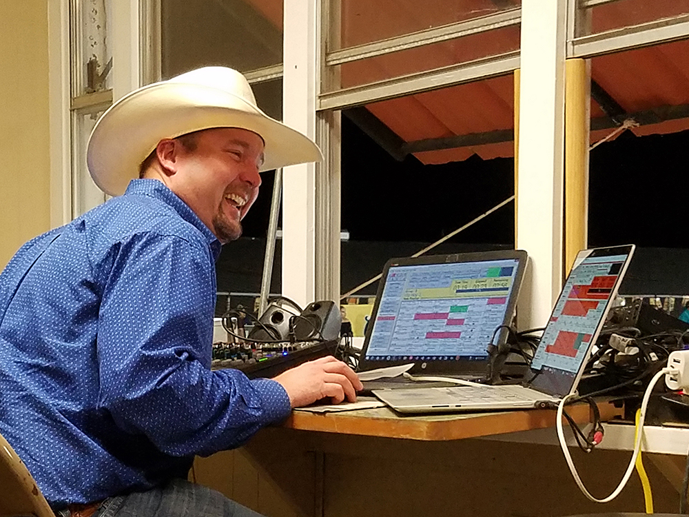 "Sound director Josh ""Hambone"" Hilton is one of several award winners who works the annual Austin County Fair's rodeo every October."