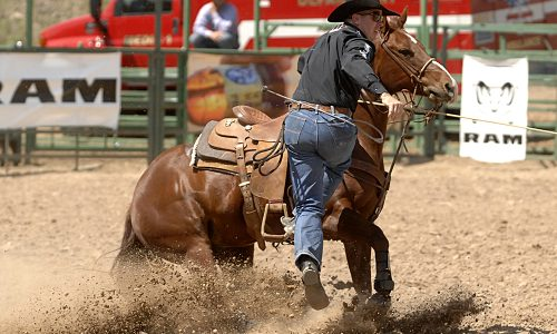 Ryan Jarrett dismounts his horse ans he speeds to a time of 9.3 seconds to take the third-round and average leads in tie-down roping at the Guymon Pioneer Days Rodeo. (PHOTO BY ROBBY FREEMAN)