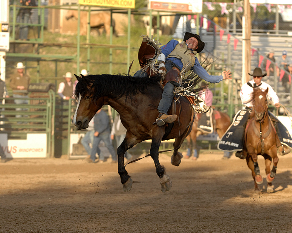 Ty Breuer rides Frontier Rodeo's Short Night for 85 points to take the early lead during Friday's first appearance of the Guymon Pioneer Days Rodeo. (PHOTO BY ROBBY FREEMAN)