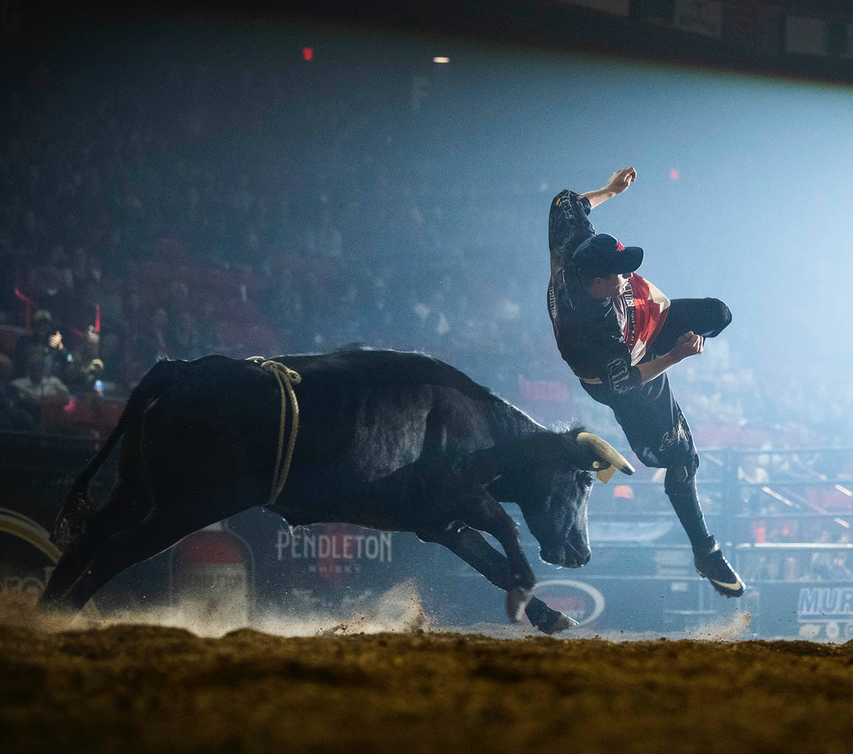 Aaron Mercer of Calgary, Alberta, competes at the Alpha Bull-Bullfighters Only event in Moose Jaw, Saskatchewan, earlier this month. His win there pushed him to No. 1 in the BFO Pendleton Whisky World Standings and stands as proof of the excellent freestyle bullfighting that has been established by BFO Canada. (PHOTO BY TODD KOROL)