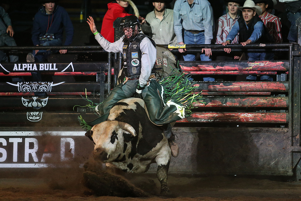 Jordan Hansen hopes to defend his title at the PBR Dawson Creek (British Columbia) Fueled by Lyons Production Services when it takes place Nov. 30. (PHOTO COURTESY OF ALPHA BULL)