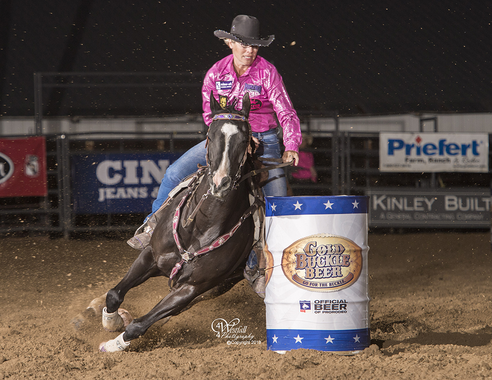Kathy Grimes made a spectacular, 16,64-second run to establish a new arena record at Rooftop Rodeo. (PHOTO BY GREG WESTFALL)