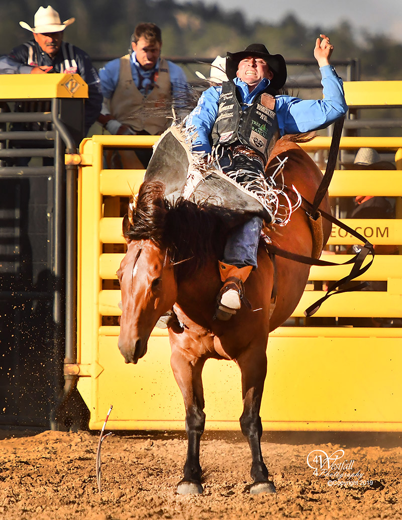 Steven Dent rides Cervi's Fire's Easy for 83 points to share the bareback riding lead at Rooftop Rodeo after Monday's first performance. (PHOTO BY GREG WESTFALL)