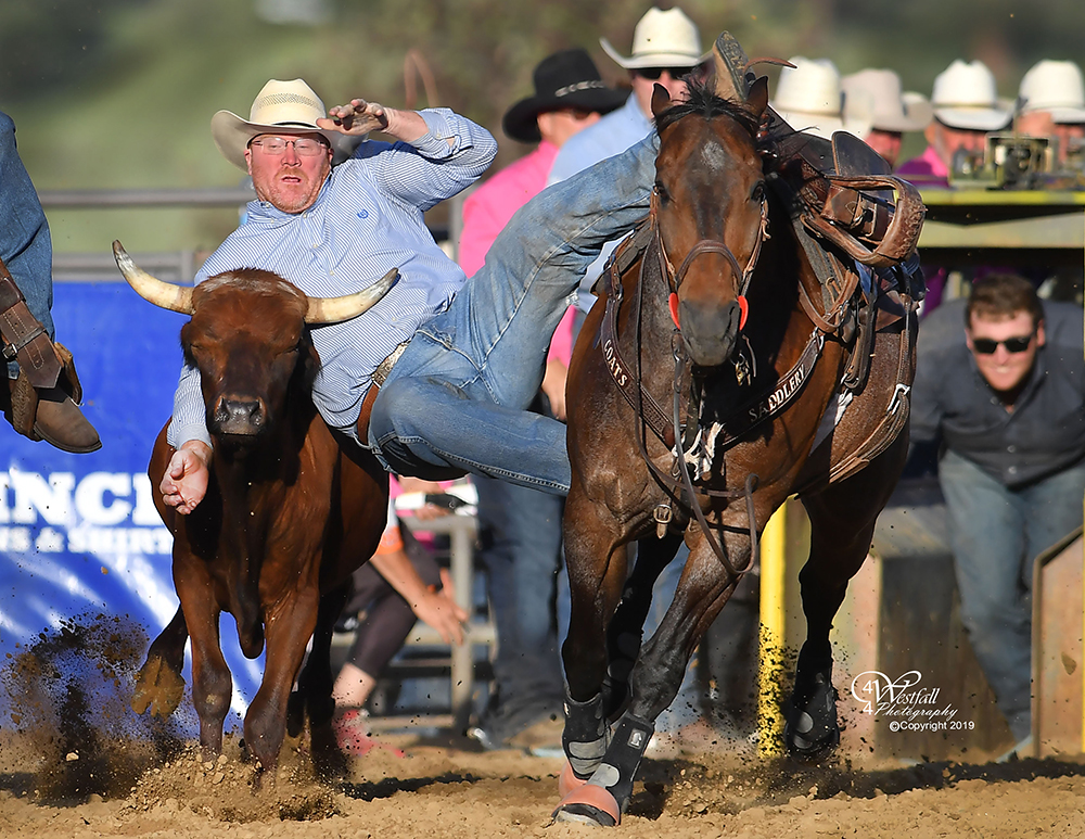 Stockton Graves, the rodeo coach at Northwestern Oklahoma State University, tutored his students well in taking the steer wrestling lead at Rooftop Rodeo. (PHOTO BY GREG WESTFALL)
