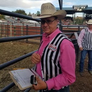 John Gwatney and his wife are contract personnel for the Eagle County Fair and Rodeo. John, who serves as the chute boss, had to step in as a ProRodeo official during the third performance of this year's event after two judges were delayed by a landslide west of Eagle, Colorado.