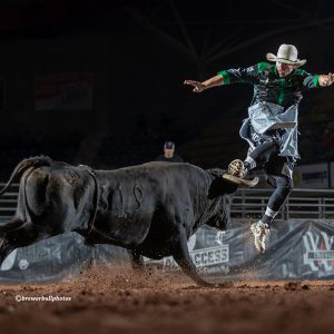 Beau Scheuth picked up a key late-season Bullfighters Only victory this past Sunday by winning One HOT Bullfight in Waco, Texas. Scheuth is the No. 7 man in the BFO Pendleton Whisky World Standings. (PHOTO BY TODD BREWER)