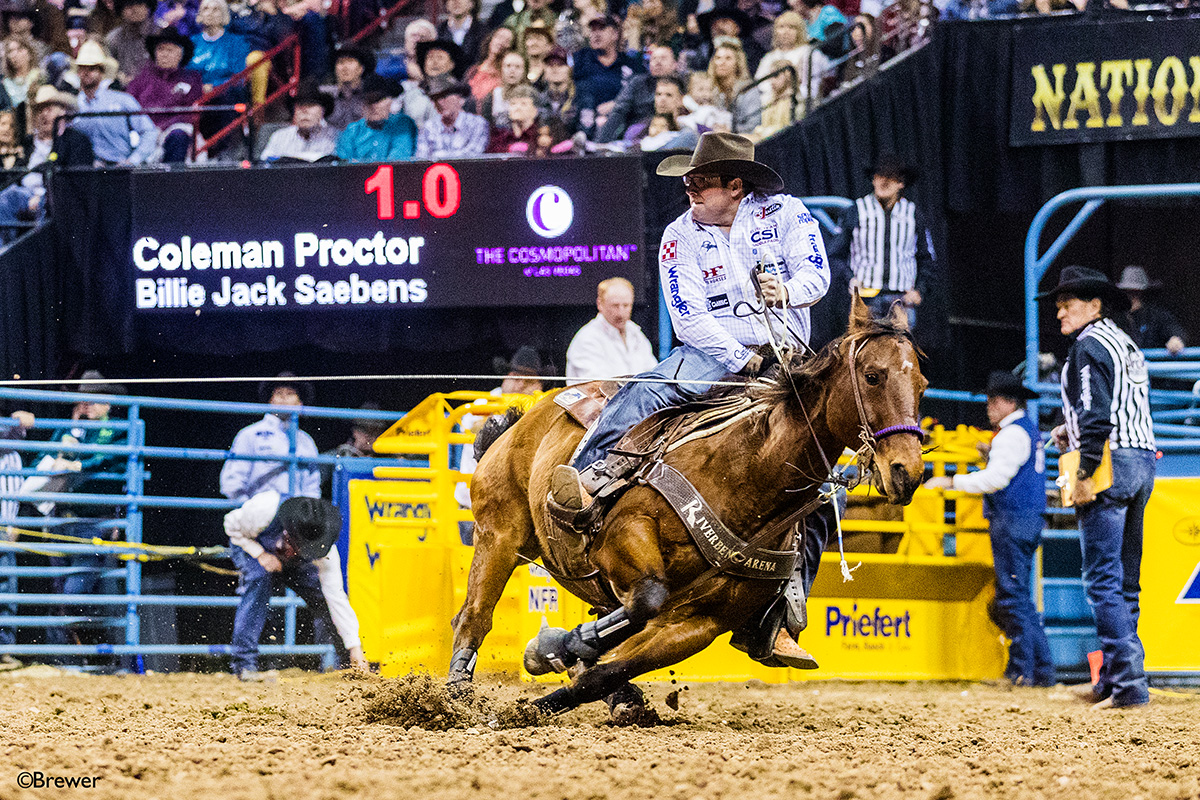 Coleman Proctor roped the third-round and average titles at the Chisholm Trail Ram Prairie Circuit Finals Rodeo with his partner, Jake Clay, then used that to secure the year-end heading championship in the circuit. It marked the third time Proctor has swept the circuit finals and year-end titles. (PHOTO BY TODD BREWER)