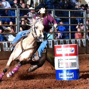 Michelle Darling will return to the Chisholm Trail Ram Prairie Circuit Finals Rodeo for the third straight year, this time as the No. 1 cowgirl in the barrel racing standings. (PHOTO BY FLY THOMAS)