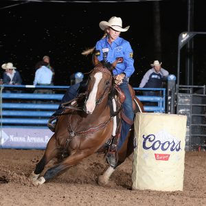 Cheyenne Wimberley finished second at Bellville's rodeo after posting a 15.26-second run Saturday night. She will return to the National Finals Rodeo after a 21-year hiatus. (PHOTO BY PEGGY GANDER)