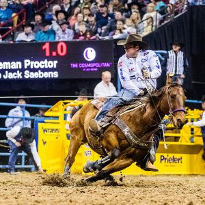 Coleman Proctor parlayed a big victory at The American into his fifth qualification to the National Finals Rodeo, where he will enter in third place in the world standings. (PHOTO BY TODD BREWER)