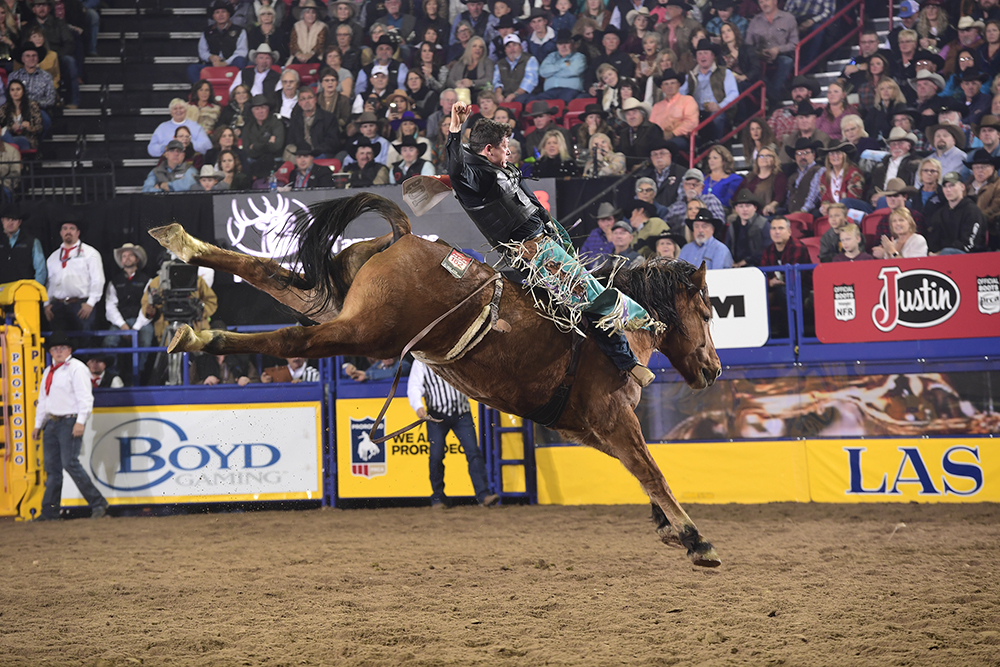 Tanner Aus returns to the National Finals Rodeo for the fifth time in his career, this time sitting in eighth place in the world standings. (PRCA PRORODEO PHOTO BY JAMES PHIFER)