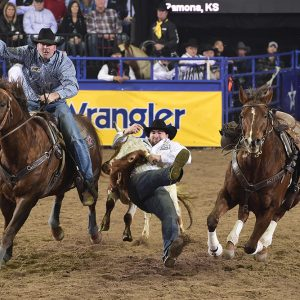 With Sean Mulligan hazing, Tanner Brunner grabs ahold of his steer during a 3.8-second run to finish in a tie for second place in Saturday's 10th round of the National Finals Rodeo. (PRCA PRORODEO PHOTO BY JAMES PHIFER)