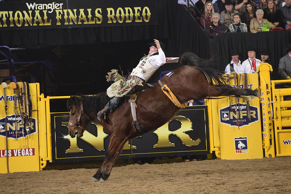 Richmond Champion rides Hi Lo ProRodeo's Wilson Sanchez for 87.5 points to finish in a tie for fourth place in Wednesday's seventh round of the National Finals Rodeo. (PRCA PRORODEO PHOTO BY JAMES PHIFER)