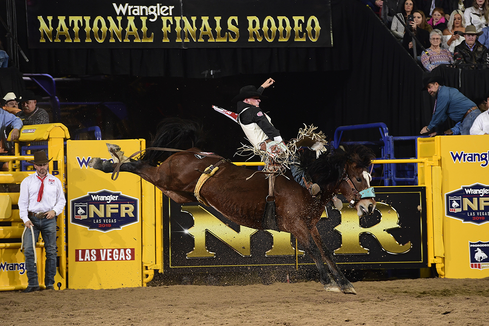 Richmond Champion rides Pickett Pro Rodeo's Night Crawler for 91.5 points to win the opening go-round of the National Finals Rodeo. (PRCA PHOTO BY JAMES PHIFER)