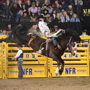 Richmond Champion rides J Bar J's Straight Jacket for 89 points to finish third in Friday's second round of the National Finals Rodeo. (PRCA PRORODEO PHOTO BY JAMES PHIFER)