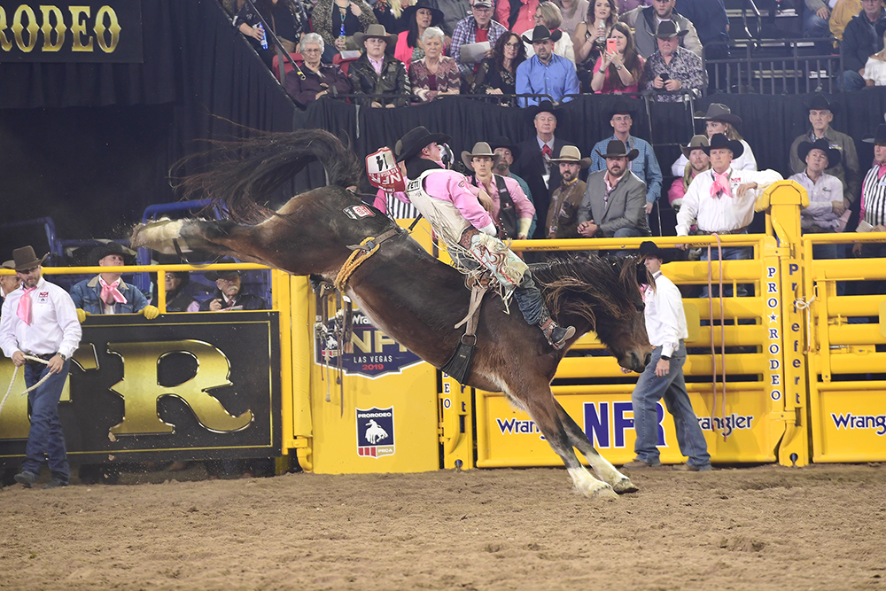 Richmond Champion scored 89 points on Pickett Pro Rodeo's Top Flight to finish sixth in Monday's fifth round of the National Finals Rodeo. (PRCA PRORODEO PHOTO BY JAMES PHIFER)