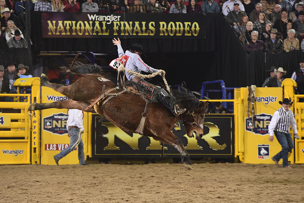 Colt Gordon rides Outlawbuckers Rodeo's Little Muffin for 85 points to finish in a three-way tie for fourth place in Tuesday's sixth round of the National Finals Rodeo. (PRCA PRORODEO PHOTO BY JAMES PHIFER)