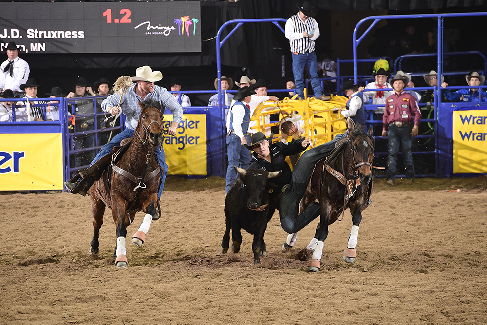 J.D. Struxness squeezes himself between his horse and his steer en route to a 3.9-second run Sunday to place fourth in the fourth round. (PRCA PRORODEO PHOTO BY JAMES PHIFER)