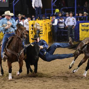 J.D. Struxness grabs ahold of his steer en route to a 4.4-second run to finish third in Thursday's eighth round of the National Finals Rodeo. (PRCA PRORODEO PHOTO BY JAMES PHIFER)