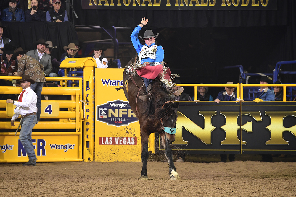 Tim O'Connell rides Pickett Pro Rodeo's Scarlet Fever for 87.5 points Wednesday night to finish tied for fourth in the seventh round of the National Finals Rodeo. (PRCA PRORODEO PHOTO BY JAMES PHIFER)