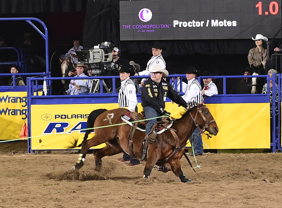 Coleman Proctor and his partner, Ryan Motes, scored a 3.8-second run to finish second in Sunday's fourth round of the National Finals Rodeo. (PRCA PRORODEO PHOTO BY JAMES PHIFER)