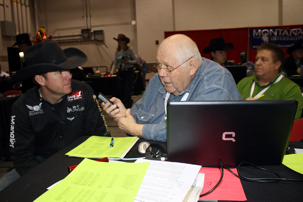 The media room at the National Finals Rodeo has been home to greatness over the years, including 25-time world champion Trevor Brazile visiting with the late Ed Knocke after the 10th round in 2011.