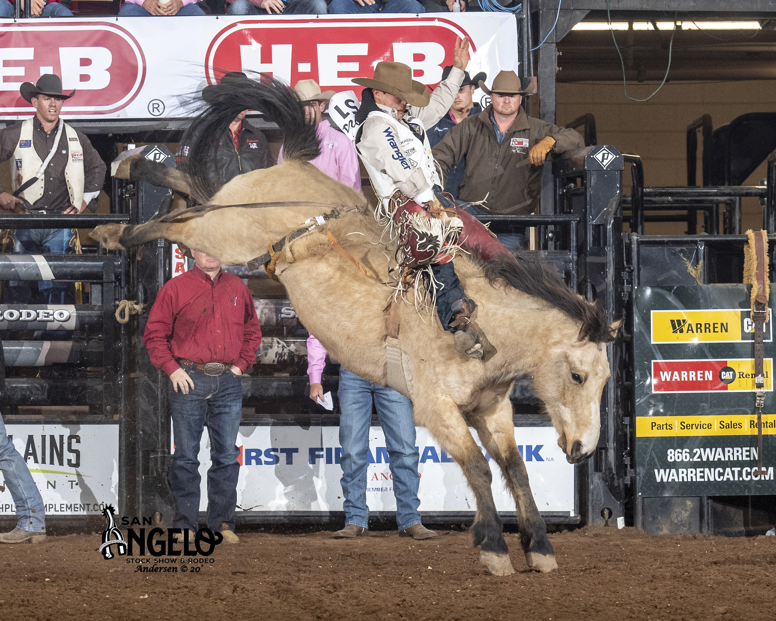 Reigning world champion bareback rider Clayton Biglow rides Northcott Macza's Time Machine for 84 points to catch a little first round money while qualifying for Friday's short round at the San Angelo Stock Show and Rodeo. (PHOTO BY RIC ANDERSEN