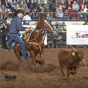 Bryson Sechrist went from ninth place heading into Friday's short go-round to win the tie-down roping title at the San Angelo Stock Show and Rodeo. (PHOTO BY RIC ANDERSEN)