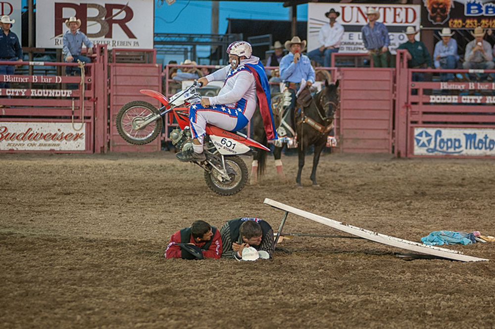 Justin Rumford will return to Dodge City Roundup Rodeo to help entertain the crowd along with trick rider Madison MacDonald. (PHOTO BY FRAN RUCHALSKI)