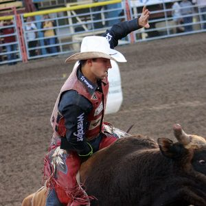Roscoe Jarboe, seen during Tuesday's Dodge City Xtreme Bulls, tied an arena record by matching moves with Frontier Rodeo's Magic Poison for 93 points to win the bull riding title at the Dodge City Roundup Rodeo.