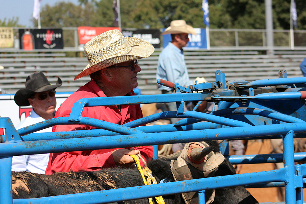 John Gwatney prepares to open the chute during a timed-event run at a recent rodeo. He and other members of the Pete Carr Pro Rodeo team are important factors at each rodeo they work.