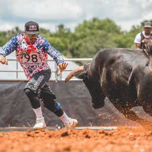 Riley McKettrick is excited to have the Ultimate Bullfighters in his hometown of Arcadia, Florida, as part of the Arcadia Roughstock UBF. It will also be broadcast on the Wrangler Network. (PHOTO BY CLICK THOMPSON)
