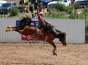 Roper Kiesner is within reach of winning his first Prairie Circuit year-end championship in saddle bronc riding. He is third in the standings but is less than $600 behind the leader, Jake Finlay.