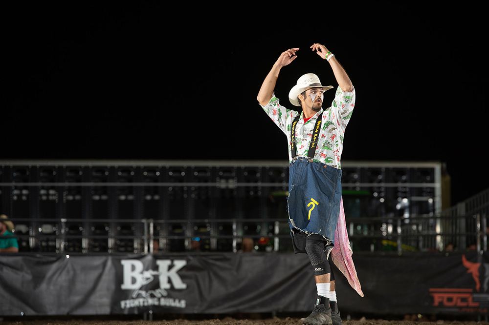 Sage Seay calls for a bull during his dominating performance at the Ultimate Bullfighters Challenge presented by Pump & Pantry at the Nebraska State Fair. (PHOTO BY CLICK THOMPSON)